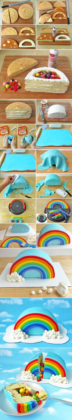 "Rainbow-cake-sorpresa can use Skittles ""Taste the Rainbow"" Beautiful Cakes, Amazing Cakes, Cake Cookies, Cupcake Cakes, Cake Tutorial, Love Cake, Creative Cakes, Cake Art, Party Cakes"