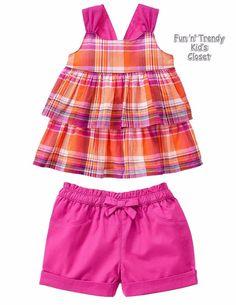 NWT Gymboree SPICE MARKET Girls Size 6-12 Months Tiered Tank Top Shorts 2-PC SET #Gymboree #Everyday