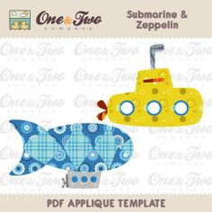 fabric applique templates   Instant Download - Fabric APPLIQUE TEMPLATE Only PDF - Submarine ...