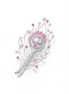 Pink peacock feather brooch/  pencil and water color