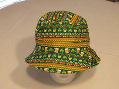 Spencers Gifts bucket hat cap RARE print Mens St. Patricks Day Shamrocks Beer OS #SpencersGifts #buckethat