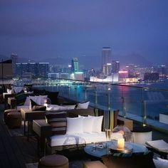 SEVVA restaurant, Hong Kong is in the rooftop penthouse of one of Hong Kong's most prestigious shopping/office buildings, with breathtaking 360 degree views of many of the iconic buildings of Hong Kong, and across Victoria Harbour to the Kowloon skyline