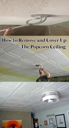 Clever Way to Cover Up the 80's Popcorn Ceiling #lifehack #remodeling #ceiling