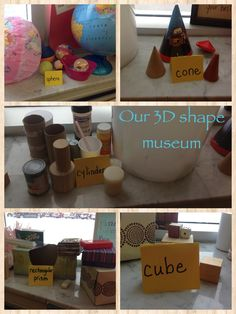 Our shape museum Preschool Math, Math Classroom, Kindergarten Activities, Teaching Math, 3d Shapes Kindergarten, 3d Shapes Activities, Geometry Activities, Learning Shapes, Maths 3e