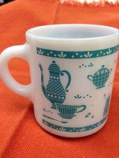 Vintage Fire King Anchor Hocking Coffee cup, Teal White Milkglass, Mug, Kitchen