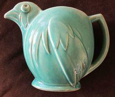 Rare McCoy vintage Bird Pitcher green blue glaze