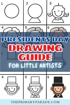 First Grade Curriculum, First Grade Art, Directed Drawing, School Closures, Presidents Day, Doodle Drawings, Winter Fun, George Washington, Drawing For Kids