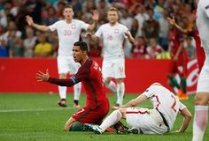 Ronaldo appeals after a barge from Michal Pazdan, nothing given.