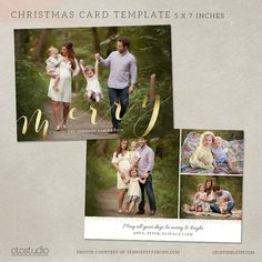 Christmas card template photoshop template 5x7 flat card gold christmas card template photoshop template 5x7 flat card elegant script cc116 instant download fandeluxe Images