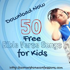 Look for some easy and FREE Bible verse songs to help your 2-6 year old learn their memory verses? Here are 50 free downloads to help you do just that!