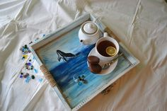 large beautiful tray, hand painted with acrylic paints. #sea #whale #tray #handmade