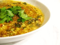 urad dal with toor dal and spinach and parsley