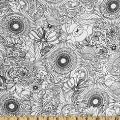 Essex Linen Blend La Femme Floral Nouveau White - Discount Designer Fabric - Fabric.com