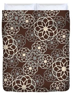 Brown And Silver Floral Pattern Duvet Cover by Christina Rollo. Available in…