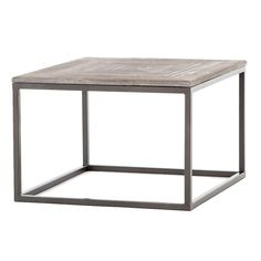 Linden Industrial Iron and Marble Top Square Coffee Tables
