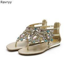 5ce7b41dd0ebe6 Crystal sandals Summer Flipflop bling bling rhinestone decor ankle strap  Women sandals flat shoes female sandbeach dress shoes. Bohemia Style ...