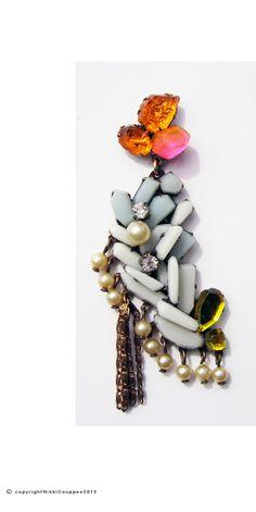 NIKKI COUPPEE-USA   jewelry lady white-plexiglass,brass,found object, fine silver,2012