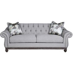 Universal Lighting and Decor Victoria Gray Fabric Upholstered Sofa (2 100 AUD) ❤ liked on Polyvore featuring home, furniture, sofas, grey, seating, gray sofa, fabric sofa, tufted couch, gray tufted sofa and nail head sofa