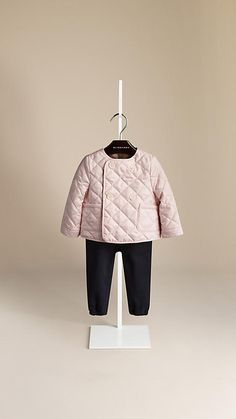 Ice pink Check Detail Diamond Quilted Jacket - Image 1