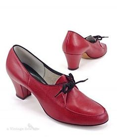 50s red ladies oxford shoes