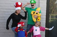 Mario family for next year. Hubs and I as Mario and Luigi, J as Princess Peach and baby can be a mushroom or the star is cute too. Mario Halloween Costumes, Super Mario Costumes, Mario And Luigi Costume, Baby Mario Costume, Zombie Costumes, Mario Brothers Costumes, Sister Costumes, Family Costumes, Group Costumes