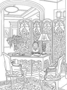This coloring page features a luxurious Victorian boudoir. Dive into Victorian times and have a joyful coloring experience. House Colouring Pages, Coloring Book Pages, Flower Coloring Pages, Detailed Coloring Pages, Coloring Sheets For Kids, Coloring For Kids, Abstract Coloring Pages, Mandala Coloring, Printable Adult Coloring Pages