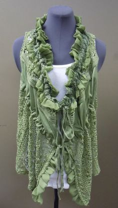 Sister Moses Olive Drab Crochet Vest with Cinching Ties. Get this vest in our Ebay store while it lasts!!! Pair it with your favorite denim and you are set! Only $60