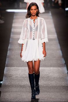 There were frills and ruffles, cascading down button-down white lace dresses and black and white jackets that all had a poetic, bohemian vibe.  Imaxtree  - HarpersBAZAAR.com