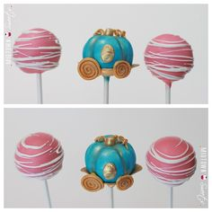 Cinderella Carriage Disney Cake Pops - So many great Disney party ideas on this site