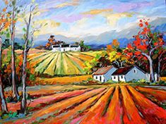 Marlise le Roux, colourful landscape artist from South Africa paints vivid original artworks of landscapes, forests & flowers. She is also the proud owner of Saxonwold Events Art Gallery that hosts regular art exhibitions. Colorful Art, City Painting, Art Painting, Landscape Artist, Colorful Landscape, African Art, Landscape Art, Africa Art, Abstract Art Landscape
