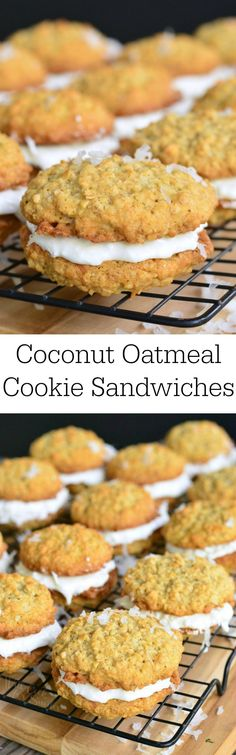 Coconut Oatmeal Cookie Sandwich. Soft, chewy, delightful oatmeal cookies made with coconut flakes and vanilla bean, then stuffed with some creamy coconut buttercream marshmallow filling.