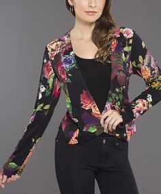 Look at this Black & Purple Floral Blazer - Women on #zulily today!