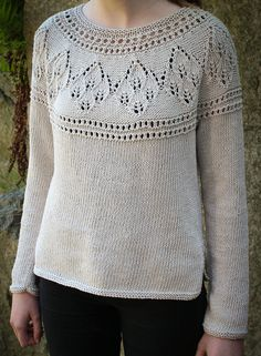 Knitting Pattern for Agnes Round Yoke Sweater - This long sleeved pullover features leaf lace on the yoke. And it's seamless! Sizes S (M, L, XL, 2XL, 3XL)