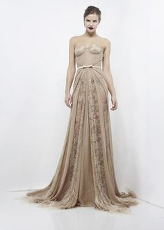 Celebrities who wear, use, or own Zuhair Murad Corseted Lace Chiffon Gown. Also discover the movies, TV shows, and events associated with Zuhair Murad Corseted Lace Chiffon Gown. Style Couture, Couture Mode, Couture Fashion, Runway Fashion, Net Fashion, Fashion Models, Glamour, Nude Gown, Zuhair Murad Dresses