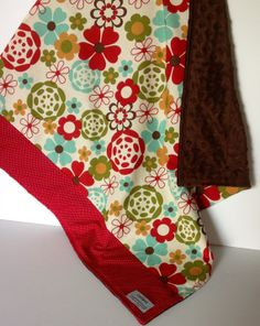 Minky Baby Girl Blanket 2 Layer Quilt Modern Floral by CoolSpool, $30.00