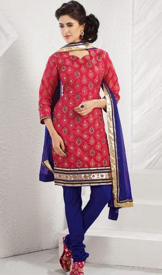 Jet from casual to conservative & vice-versa with ease as you wear this red embroidered art silk churidar kameez. It is designed with zari, stone and patch border work. Available with blue art silk churidar and blue faux georgette dupatta. #NewEveningWearDresses