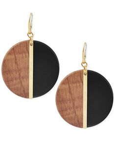 Michael Kors Gold-Tone Wood Disc Colorblock Drop Earrings | macys.com