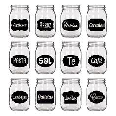Pack de vinilos decorativos para frascos, botes y tarros de cristal. Mason Jar Crafts, Mason Jars, Foto Transfer, Diy Organisation, Home Planner, Glass Centerpieces, Diy Gift Box, Mocca, Printable Labels