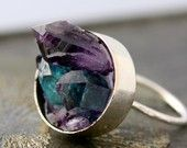 Custom Made Mixed Crystal Ring in Sterling Silver- Large Size. $290.00, via Etsy.