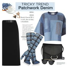 """""""Tricky Trend: Patchwork Denim"""" by janephoto ❤ liked on Polyvore featuring moda, 3.1 Phillip Lim, Tom Ford, Victoria Beckham, Bee Goddess, Smoke & Mirrors, Sur La Table, women's clothing, women's fashion y women"""
