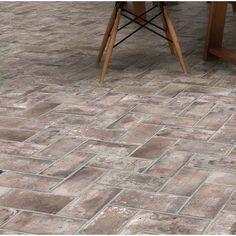 MSI Capella Brick x Porcelain Field Tile Color: Beige Brick Tile Floor, Brick Look Tile, Brick Pavers, Brick Flooring, Concrete Patio, Kitchen Flooring, Flooring Ideas, Brick Floors In Kitchen, Ceramic Flooring