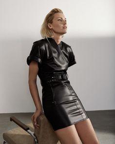 Black leather minidress