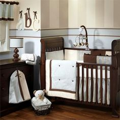 Tailored Modern Pink and Brown Baby Nursery Crib Bedding Set: I may be a rebel but I truly believe that modern baby girl nursery decorating ideas do not have to be based on a frilly, pink baby bedding set. Baby Boy Crib Bedding, Baby Boy Cribs, Nursery Crib, Nursery Bedding Sets, Baby Boy Nurseries, Girl Nursery, Girl Room, Baby Boys, Nursery Ideas