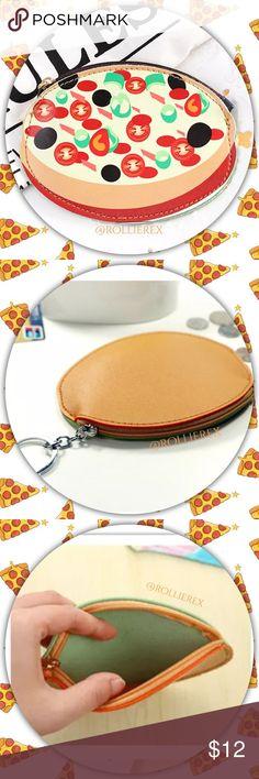 Pizza 🍕 Mini Bag 🍕Fun Mini Bag or Keychain! (Back zipper & silver circle ring)  🍕Size: See photo 🍕 Material: PU leather  ❌ No Trades Bags Mini Bags