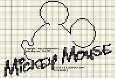 Grille gratuite point de croix : Mickey Mouse silhouette - Le blog de Isabelle