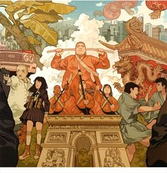 """RUSH HOUR TRILOGY for MONDO""Everything flew by so quick and I had so much going on, I never got to upload the hi-res version of the Rush Hour wrap around I did. If you want to see the full wrap..."