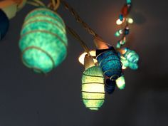 35 LED bulbs - Handmade Ocean Blue Cocoon string lights for Patio,Wedding,Party and Decoration, fairy lights Patio Wedding, Cocoon, Patio Lighting, Wedding Lighting, Unique Lighting, Light Covers, Led String Lights, Paper Lanterns, Fairy Lights