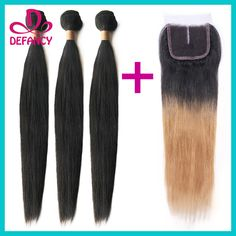 Cheap hair gems, Buy Quality hair virgin directly from China hair remy Suppliers: 		Virgin Brazilian Hair Ombre Hair Extensions With Middle Part 	Closure Straight 1B #27 Two Tone Ombre Brazilian Hair Wi