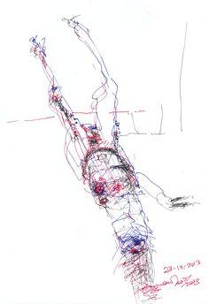 desauseado, dibujo gestual a 3 tintas