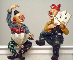 Vintage 60s Pair of Shelf Sitting Clown Figurines / Colorful Collectibles. $52.00, via Etsy.